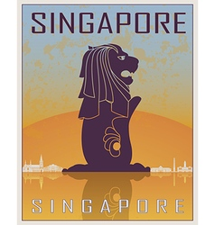 Singapore vintage poster vector