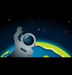 Space and earth scene vector