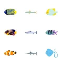 Species fish icons set cartoon style vector
