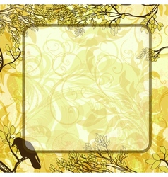 square background with tree branches and crow vector image