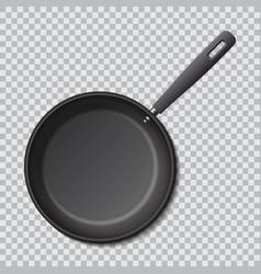 Steel empty frying pan isolated realistic vector