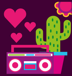 Stereo radio potted cactus hearts love flower free vector