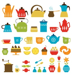 Tea time and coffee time vector image