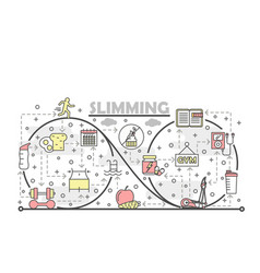 thin line art slimming poster banner vector image