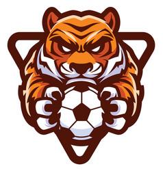 tiger football soccer mascot vector image