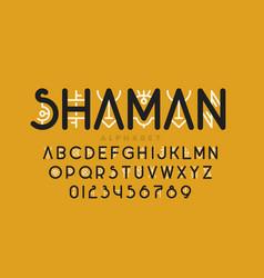 Tribal shamanic style font vector