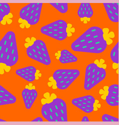 violet strawberry pattern seamless berry vector image