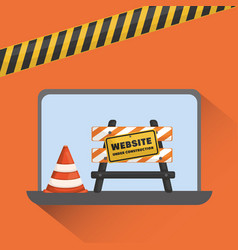 website under construction with laptop vector image