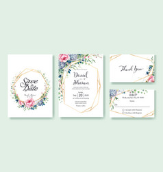 Wedding invitation save date thank you rsvp vector