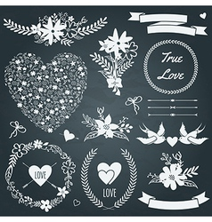 Wedding set with bouquets birds hearts arrows vector