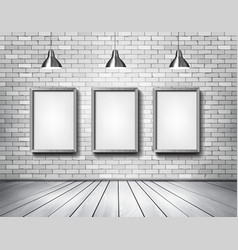 White brick show room with spotlights vector