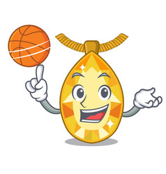 With basketball topaz jewelry in cartoon box vector