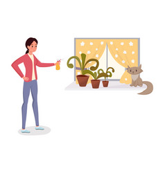 Woman spraying potted flowers flat character vector