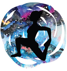 Women silhouetteone-legged king pigeon yoga pose vector