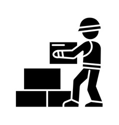 worker builder taking bricks icon vector image