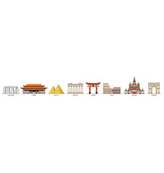 world monuments icons vector image