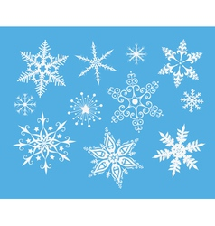 decorative snowflakes on blue vector image vector image