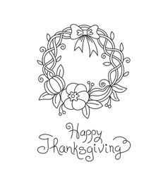 Doodle Thanksgiving Wreath Freehand Drawing vector image