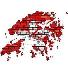 Hong Kong map on a brick wall vector image