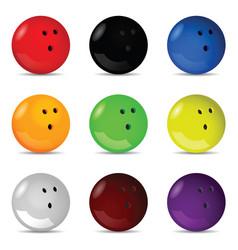Bowling ball silhouette set vector