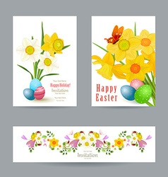 collection greeting cards with spring flowers vector image