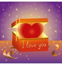 Heart gift box Declaration of love vector image