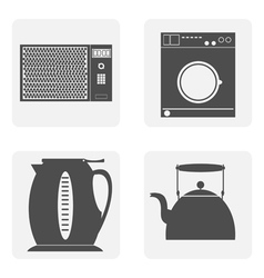 monochrome icon set with house kitchen vector image vector image