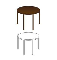 round wooden table and outline isolated on white vector image