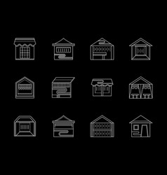 types of trade tent flat white line icons vector image