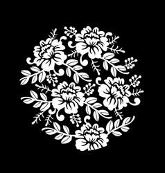 vintage black and white floral crown summer vector image vector image
