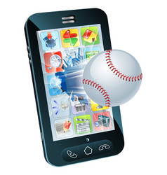 Baseball ball flying out of mobile phone vector