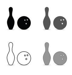 bowling pin and ball silhouette set vector image