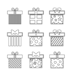 Gift boxes icons set in black and white vector image vector image