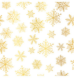 golden and white snowflakes seamless repeat vector image vector image