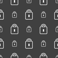 Lock icon sign Seamless pattern on a gray vector image vector image