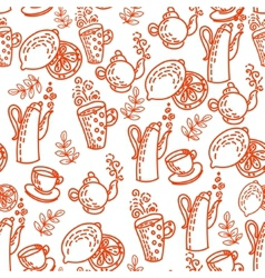 Red Seamless Pattern with Tea Cups vector image