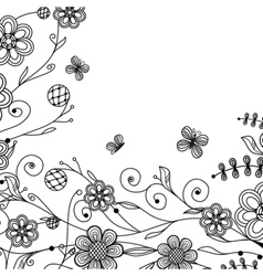 Vintage floral card with handdrawn flowers and vector image