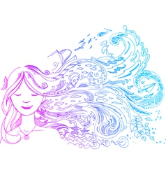 Woman with long hair vector image vector image