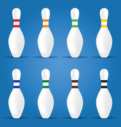 bowling pin in different color on blue background vector image