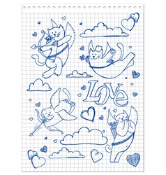 Hand-drawn lovely cats vector image vector image