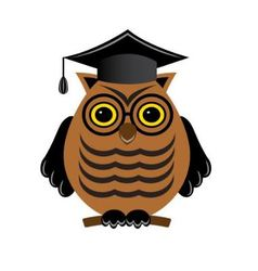 wise owl with glasses and a graduate hat vector image