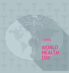 world health day caduceus on vector image vector image