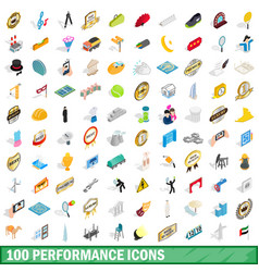 100 performance icons set isometric 3d style vector