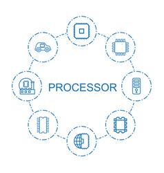 8 processor icons vector