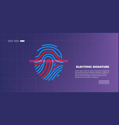 abstract futuristic digital fingerprint scanner vector image