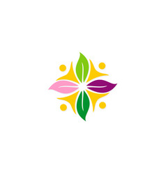 abstract people group flower beauty logo vector image