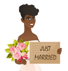 african bride holding plate with text just married vector image