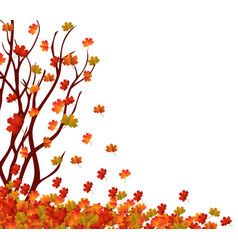 Autumn tree and pile of leaves fall leaves vector