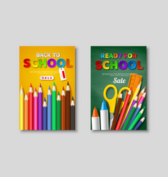 back to school sale posters with 3d realistic vector image