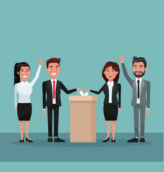 background scene set people in formal suit vote in vector image